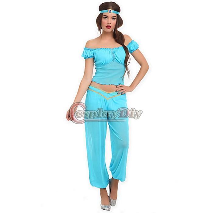 adult women aladdins princess jasmine dress costumes sexy fantasia dress halloween cosplay costume version 2 cute group costumes for girls halloween