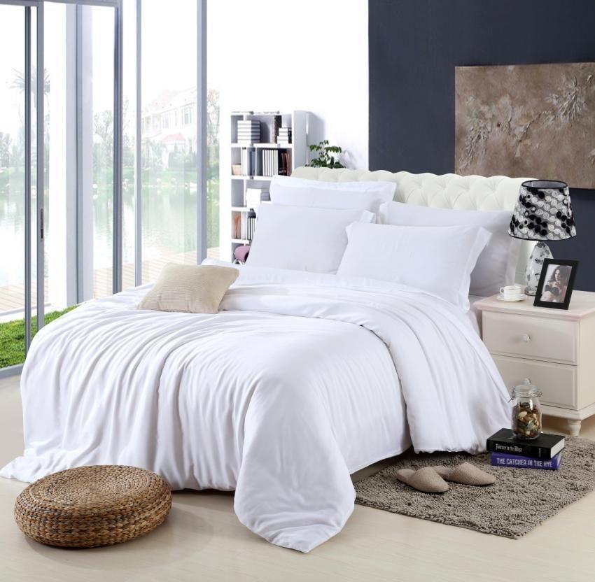 91cff8449d King size Luxo branco conjunto de cama rainha capa de edredão de cama de casal  colcha do lençol do lençol de linho lençóis colchas quarto tencel 4 pcs ...