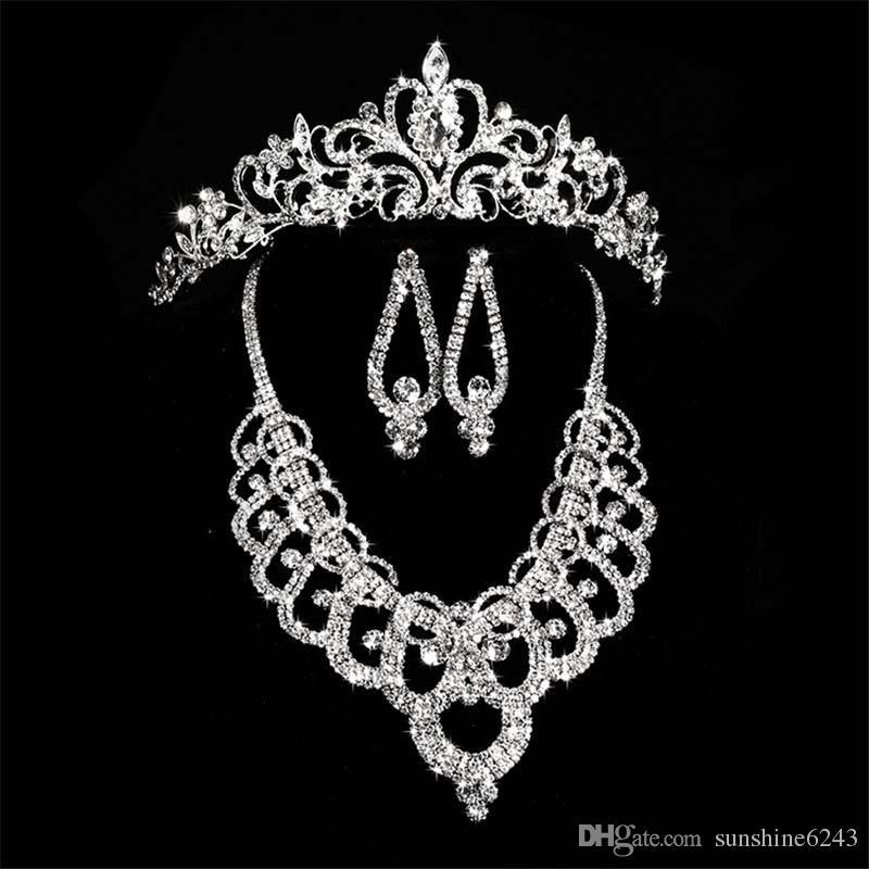 Accesorios de coronas de diamantes de novia Tiaras Collar de pelo Pendientes Accesorios Conjuntos de joyería de boda Precio barato Estilo de moda Novia