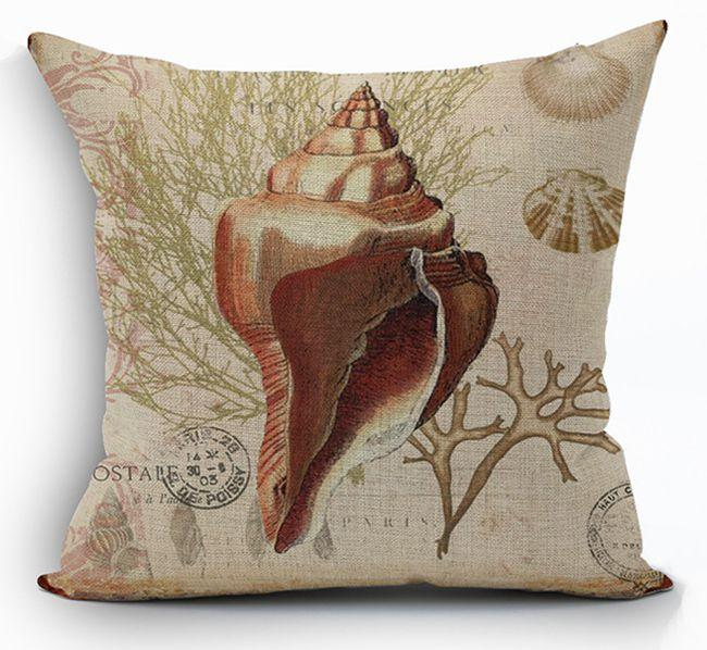 Vintage fundas cojines sofa seat cushion cover sea shell throw pillow case print ocean cojines - Fundas cojines sofa ...
