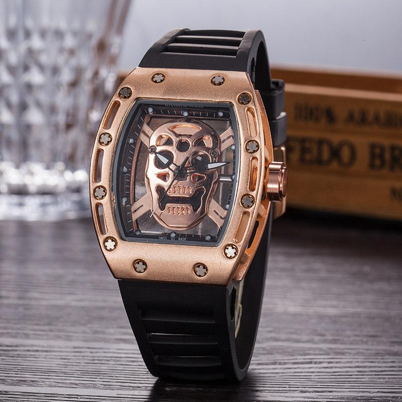 Casual Fashion Hollow Ghost Head Skeleton Watches men Top Brand Luxury Army Skull sport quartz watch AAA