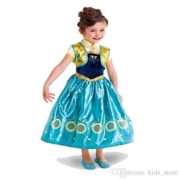 Großhandel 2015 Gefrorene Kleid Elsa Anna Film Cosplay Kostüme Baby ...