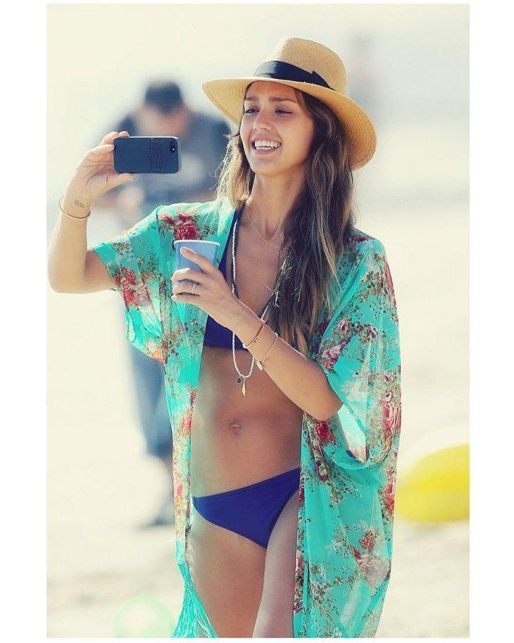 Womens Chiffon Kaftan Floral Beachwear Cover Up Short Summer Dress Ladies 8-14