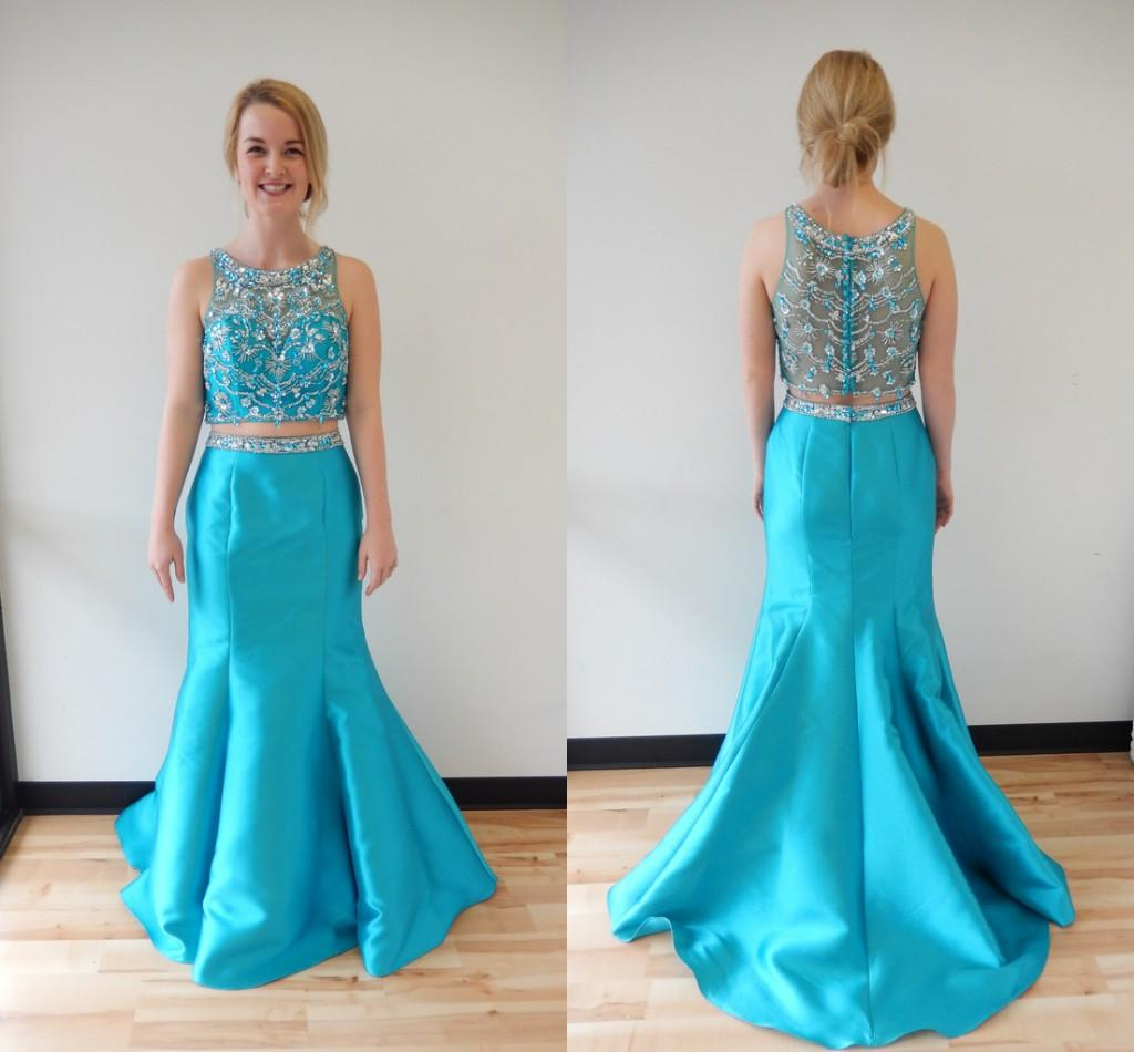 2016 Hot Prom Dresses Turquoise Mermaid Two Pieces Pearls ...