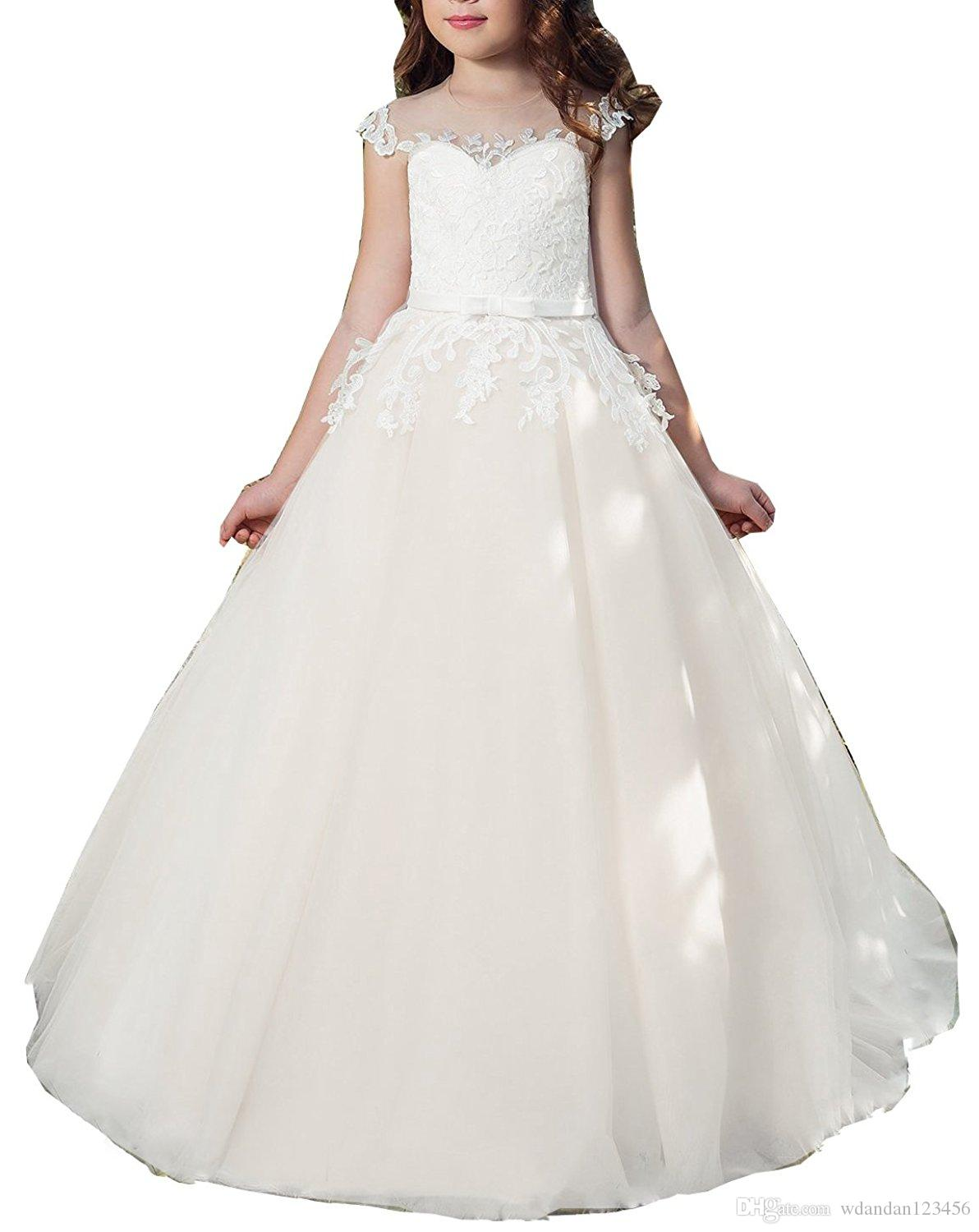 2017 New Flower Girl Dresses Kids First Communion Dress Ball Gown Lace Pageant Gowns 072