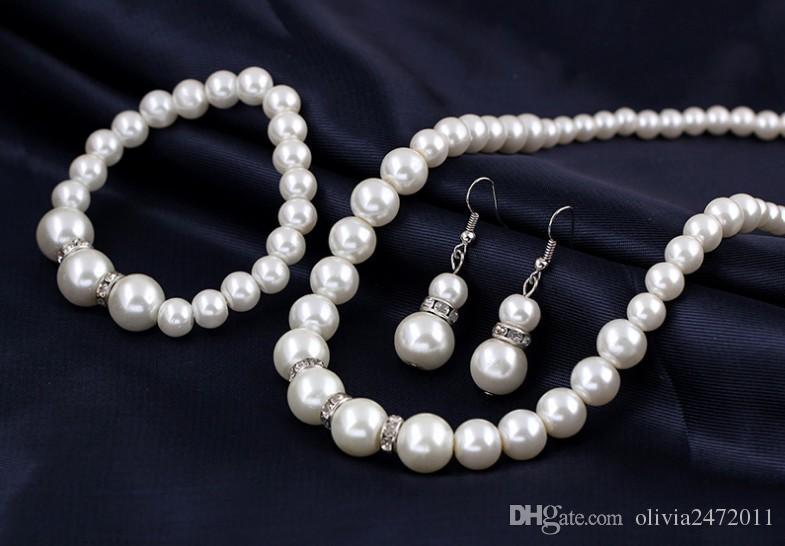 Perla de imitación de plata plateado claro collar de cristal pendientes pendientes conjuntos Top regalo del partido traje de moda joyería de perlas conjuntos DB