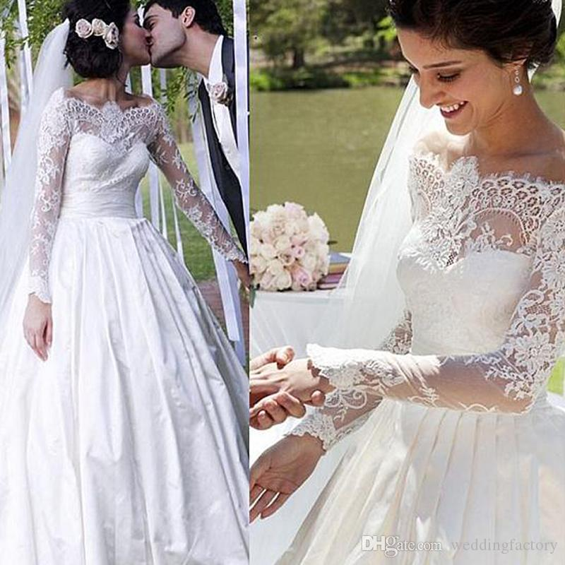 fc8197a6f9 Discount Gorgeous Country Wedding Dress Arabic Sheer Lace Off The Shoulder  Long Sleeve A Line Wedding Dresses Pleated Skirt Bridal Gowns Wedding  Dresses On ...