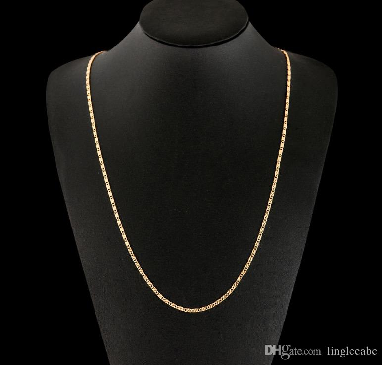 18K gold plating smooth snake chains Necklace 2MM snake chain mixed size 16 18 20 22 24 26 28 30 inch hot sale Chains Jewelry