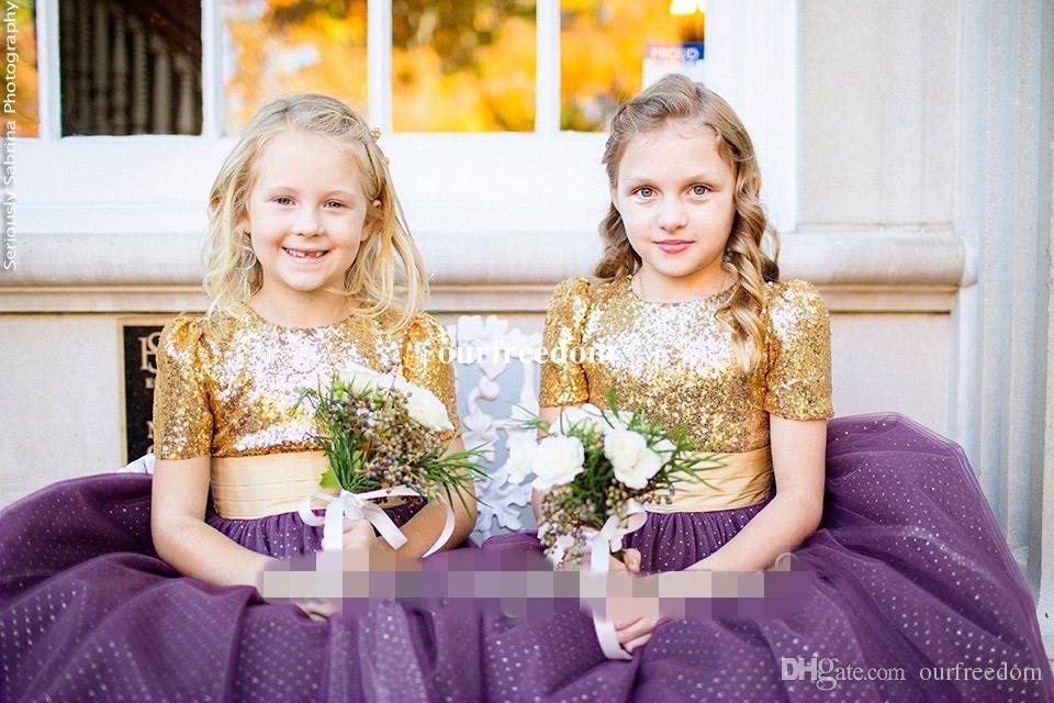 2019 Mais Novo Ouro Lantejoulas Flor Meninas Vestidos de Manga Curta Ponto Roxo Tule Comprimento Do Tornozelo Crianças Pageant Vestido Primeira Comunhão Vestidos Personalizados