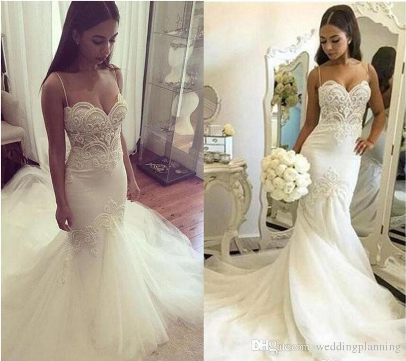 Sexy Formal Plus Size Mermaid Wedding Dresses Spaghetti Straps Lace Appliques Pearls Tulle Backless Long Court Train Bridal Gowns