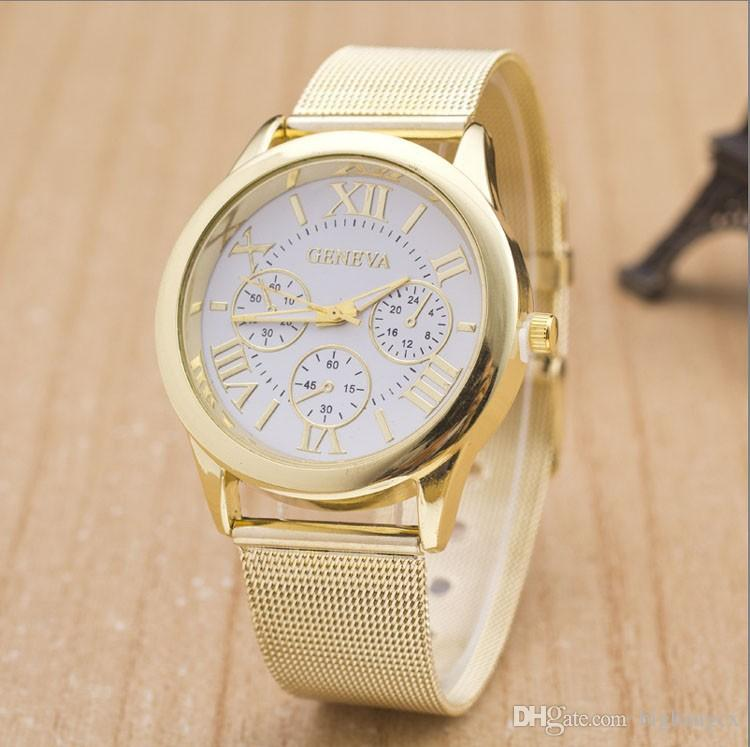 Fashion Unisex Geneva Roman Numerals watch Mesh Wire Steel band Analog Quartz Wrist Watches for women men wrist watch dress watches
