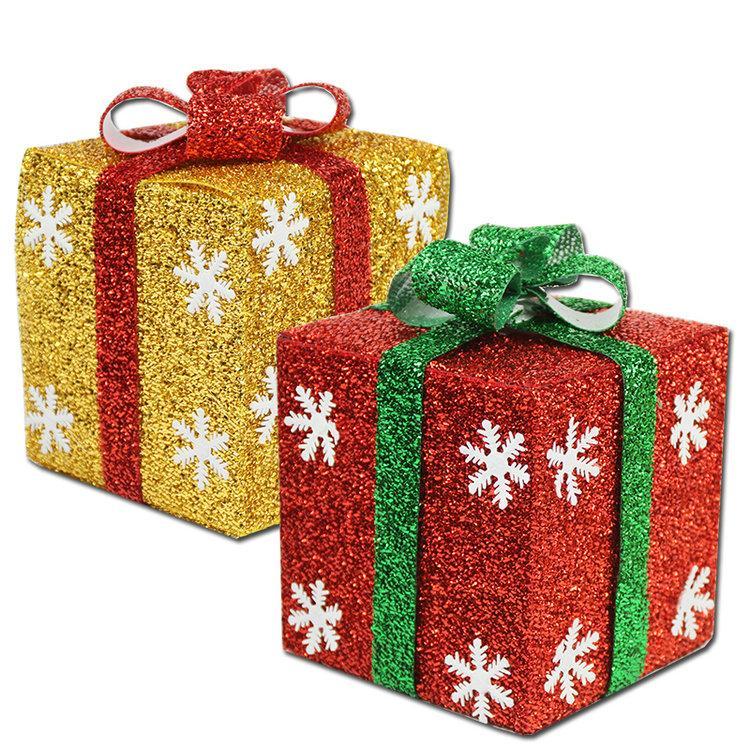 Hot sales christmas tree ornaments xmas gift box hanging
