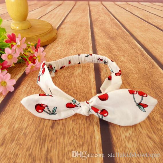2016 New cotton baby girls Headband ,cherry Printed baby photography ,Cherry Knot Girls headband