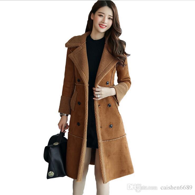882ad55f12773 Acheter Nouvelle Mode Longue Section Coton Manteau Femmes Vêtements 2017  Plus Populaires Hiver Plus Velours Épaissir Veste En Laine D'agneau En Daim  Slim ...