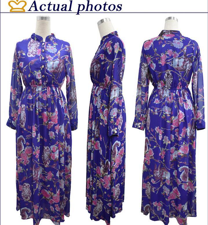 2016 весна новый шифон повседневные платья для женщин мода печати цветочные стенд воротник с длинными рукавами с карман макси платье плюс размер M-6XL