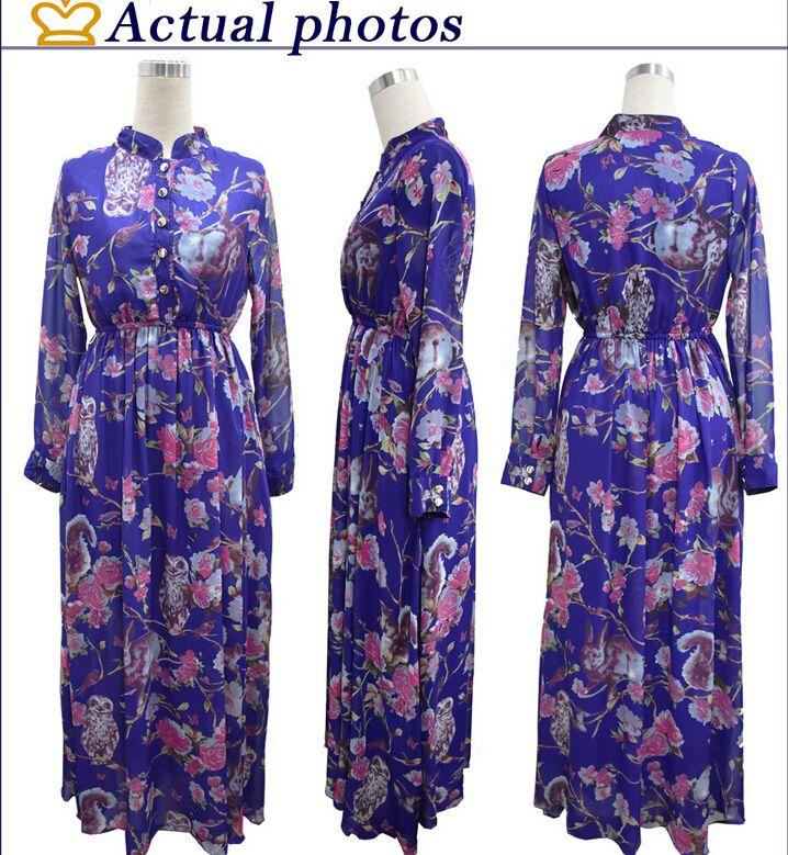 2016 Printemps Nouvelle Mousseline De Soie Occasionnels Robes Pour Femmes De Mode Impression Floral Stand Col Col À Manches Longues Avec Poche Maxi Dress Plus La Taille M-6XL