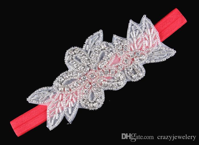 2015 Baby Bling Blumenrhinestone-Stirnbänder Mädchen-elastische KristallHairbands Brauthaar-Zusatz-WeihnachtsTaufe Hochzeits-Kopfbedeckung