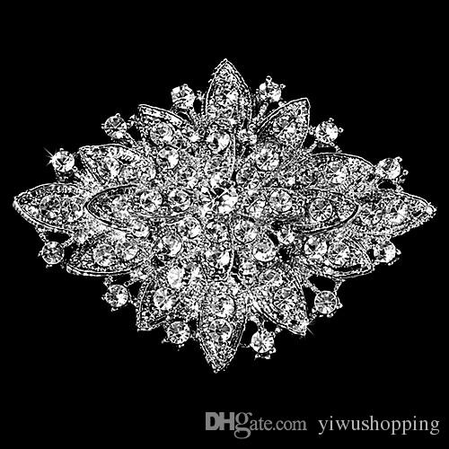 ! Wholesale Beautiful Hot Selling Fashion Rhinestone Crystal Diamante Large Flower Vintage Bouquet Brooches and Pins Gift
