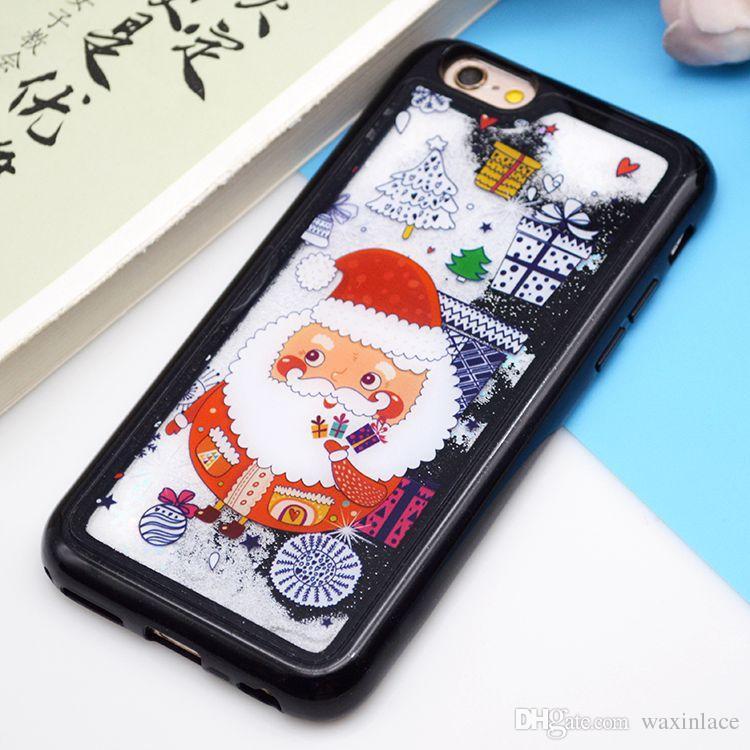 Caso di telefono all'ingrosso di Natale iphone 8 Cases Glitter Quicksand Dynamic Liquid Cover Regali di Babbo Natale