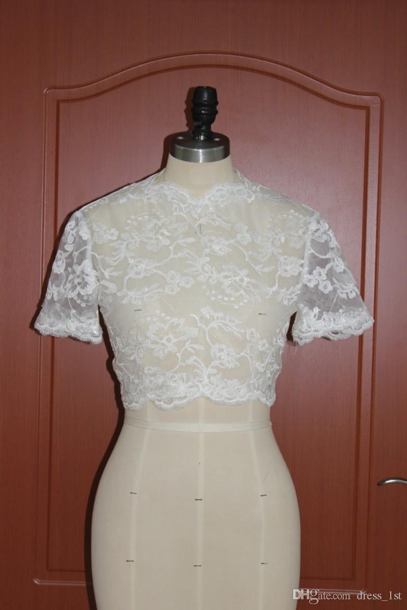 New Arrival 2017 Lace Bridal Bolero Jackets Wedding Dress For Bridal Accessories Cheap Custom Made EN12015