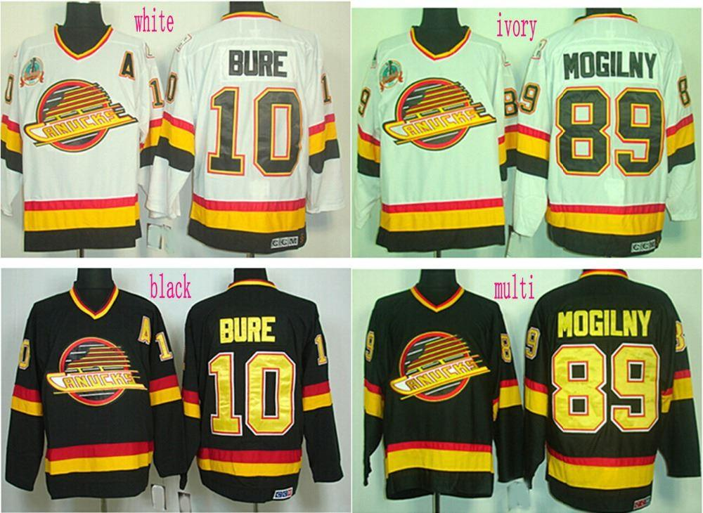 7a4b7fd04a3 ... Throwback Stitched Black NHL Jersey 2017 Factory Outlet, Vancouver  Canucks 10 Pavel Bure 89 Alexander Mogilny Jersey Home Black White Mens ...