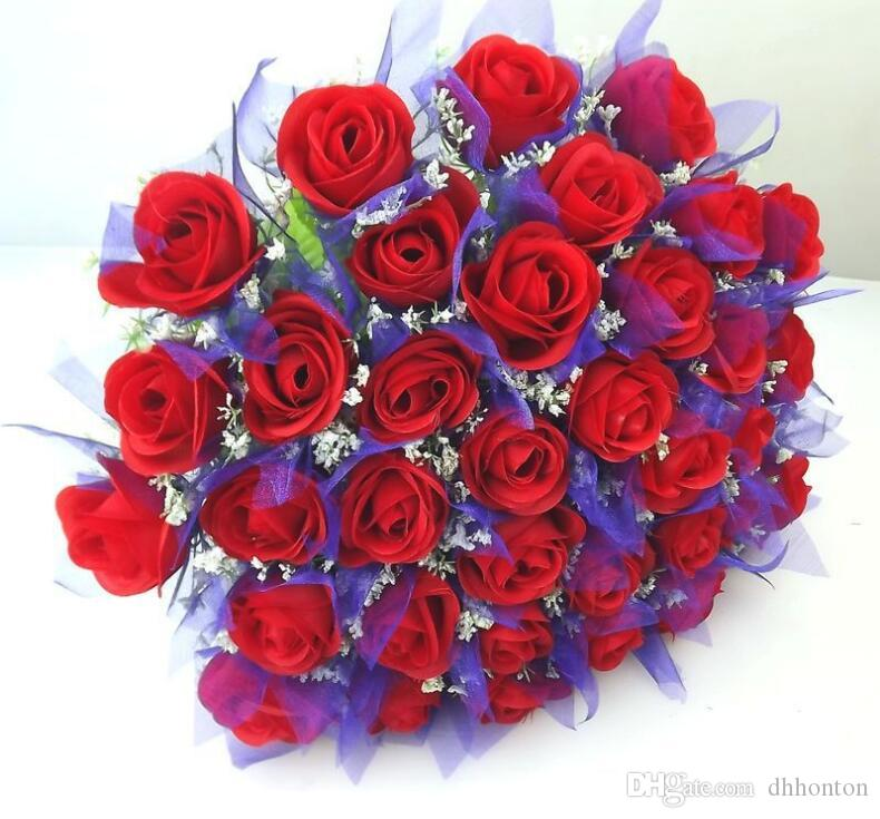 36 heads derrick rose Bridal Wedding Bouquets Artificial Flowers Silk Rosefloyd rose body red rose bouquets SF0201