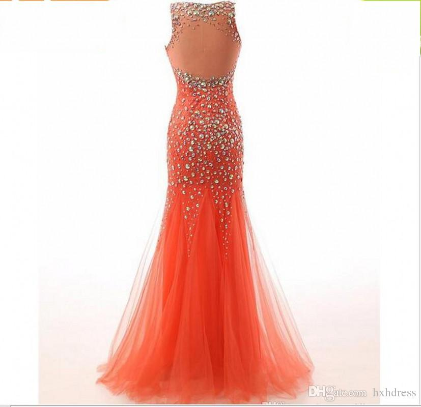 New Vestido De Festa Robe De Soiree Gorgeous Crystals Scoop Tulle Long Mermaid Evening Dress Robe Longue Femme Soiree 219