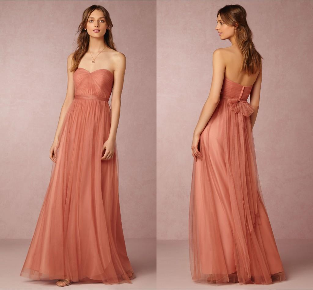 2017 bhldn coral bridesmaids dress a line sweetheart sleeveless 2017 bhldn coral bridesmaids dress a line sweetheart sleeveless ruffle pleats long tulle maid honor special occasion dresses for wedding bridesmaid dress ombrellifo Gallery
