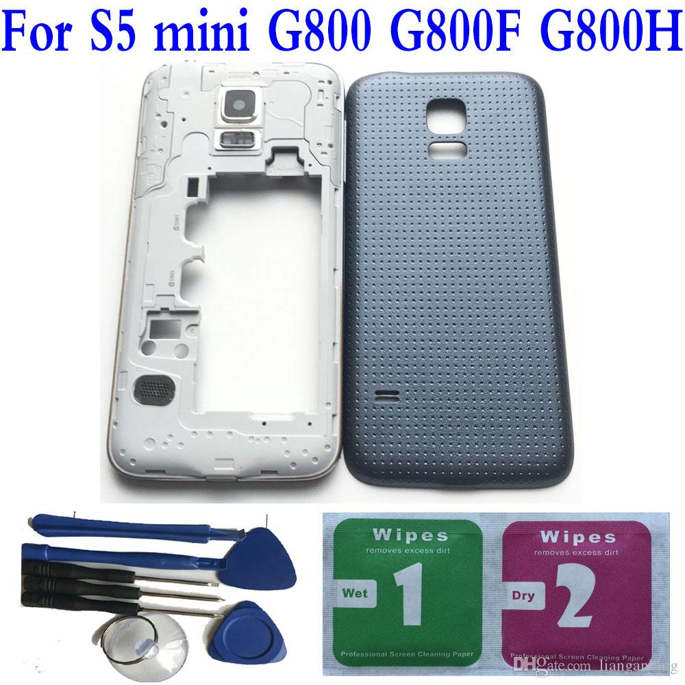 NEW Full Housing Back Battery Door Cover+Tools For Samsung Galaxy S5 mini G800 G800F G800H Double SIM Card Tray Replacement Black/White/Gold