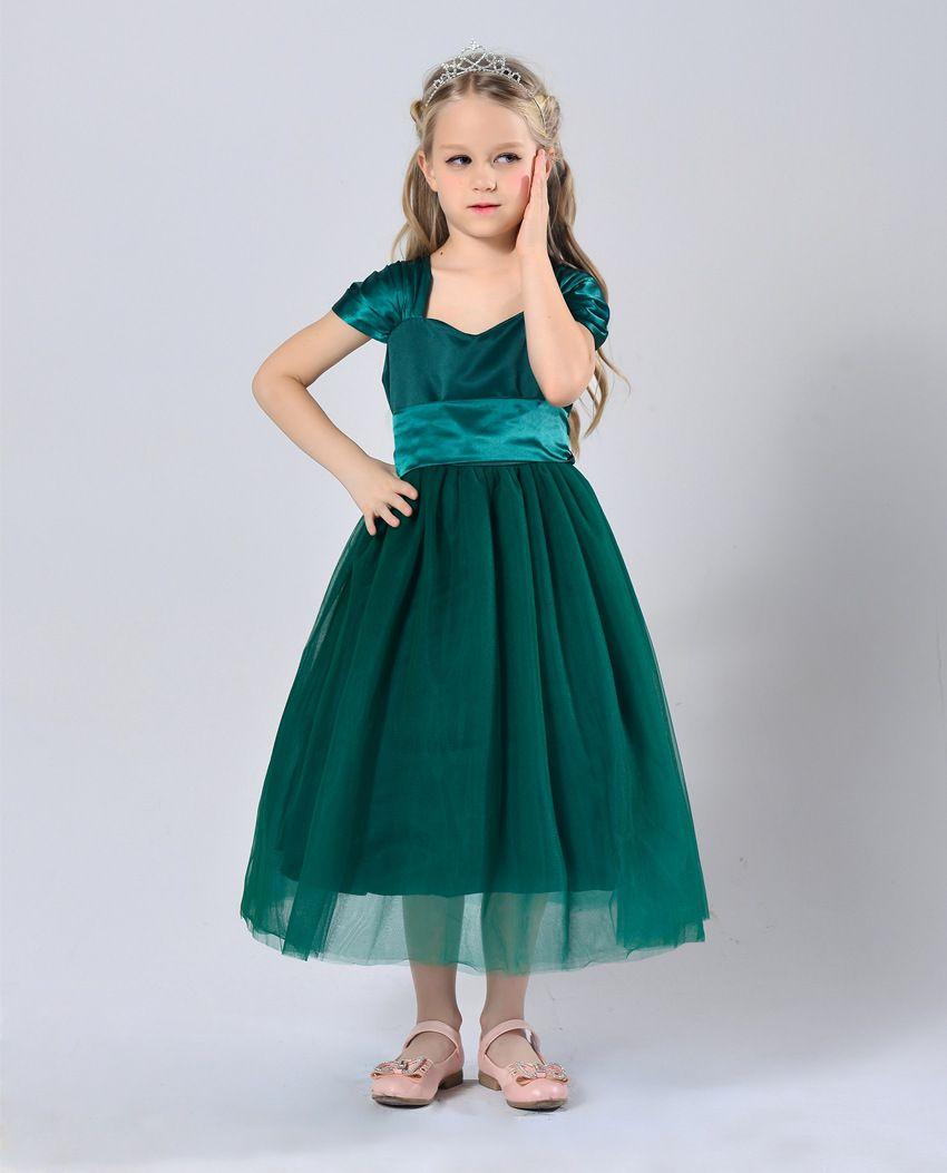 A Line Tea Length Stain Short Sleeve Square Flower Girl Dresses For ...