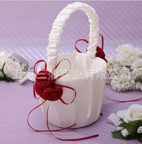 結婚式用品フラワーガールバスケットピンクローズバスケット結婚式の装飾安い