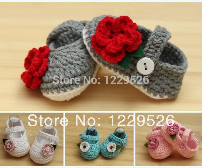 2015 Nuovo design Crochet Cotton Baby Crochet Shoes Baby Calzature a maglia Scarpe da bambino 0-12M Prime scarpe da escursionisti