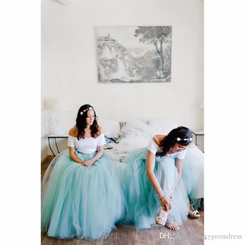 Mint Green Tulle Tutu Skirts 2016 Bridesmaid Dresses For Beach Wedding Party Gowns Women Skirts Floor Length Skirts