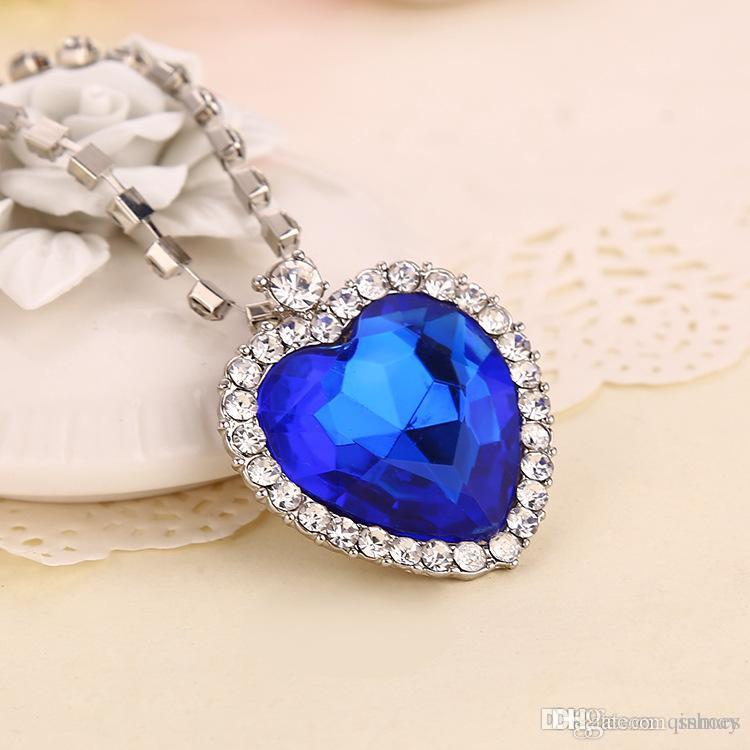 Wholesale beautiful romantic titanic ocean heart pendant necklaces wholesale beautiful romantic titanic ocean heart pendant necklaces for women blue crystal rhinestone choker necklace silver jewelry ruby necklace turquoise aloadofball Image collections