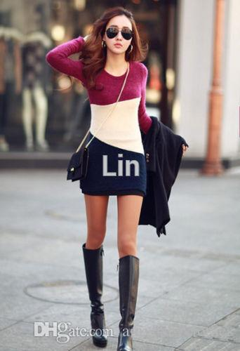 OL Women's Fashion Clothes Bodycon Knit Autumn Winter mini dress Tops Long sleeve dress