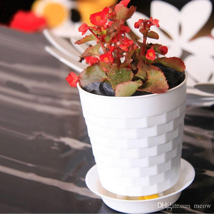 Bonsai Planters Latest Breathable Plastic Table Mini Succulents Plant Pots with Plate Gardening Vase Round Flower Pot Colorful