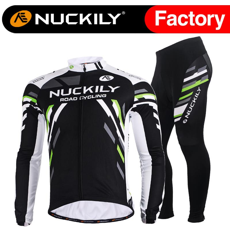 Nuckily Mens Fleece Custom Design Cycling Wear Long Suit Printed Long  Sleeve Jersey With Pants Thermal Outdoors Apparel Set ME012   MF012  Bicycle  Shirts ... bb9d36f81