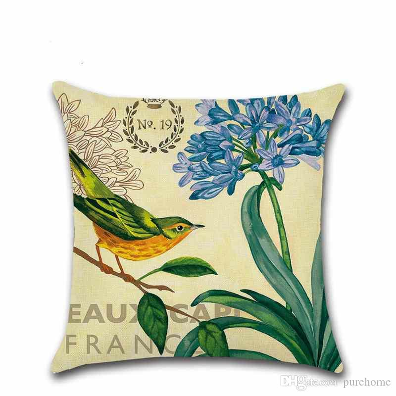 Leiothrix Love Birds Flower and Bird EuropeStyle Printed Linen Pillow Case Sofa Cushion Cover 45*45CM Home Decor Gift for Housewarming Party