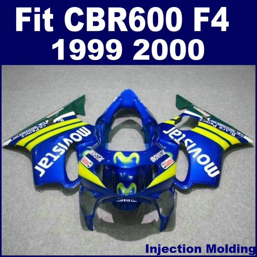 100% de moldeo por inyección para el carenado de alto grado HONDA CBR 600 F4 1999 2000 azul 99 00 cbr 600 f4 partes de carenado X6BH