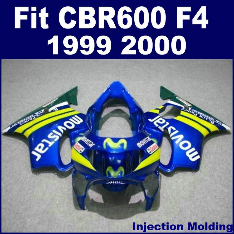 100% Enjeksiyon kalıplama için HONDA yüksek dereceli fairing CBR 600 F4 1999 2000 mavi 99 00 cbr 600 f4 fairing parçaları X6BH