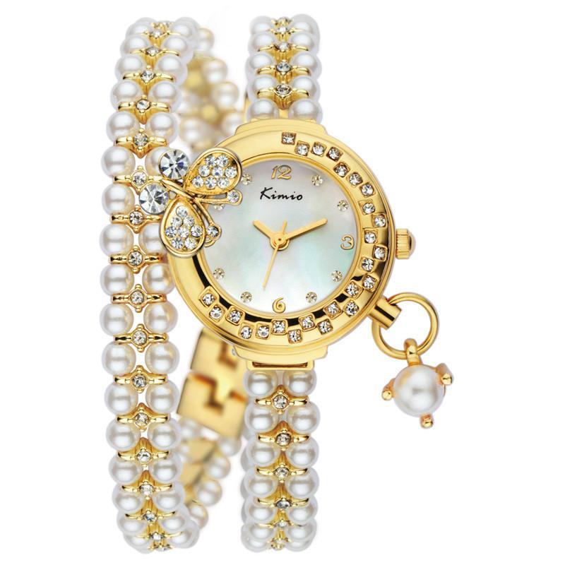 69cb4483cb9 KIMIO 2016 New Women Watch Fashion Analog Display Quartz Watch Women Luxury  Brand Pearl Bracelet Watch Dress Watches Prestige Watches Bling Watches  From ...