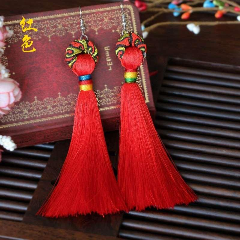 Yeni ulusal rüzgar orijinal el yapımı takı kulak kancası uzun bez sanat püskül küpe eardrop antik yollar geri