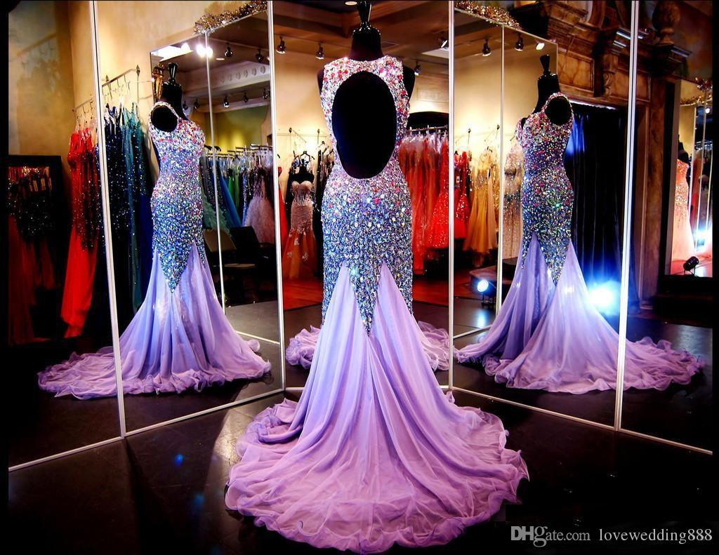 Sparkly bördelt Rhinestone-Nixe-Abschlussball-Kleider für Festzug-formalen Kleid 2018 Wirkliche reizvolle Backless Sweep-Zug-langes Abschlussball-Kleid