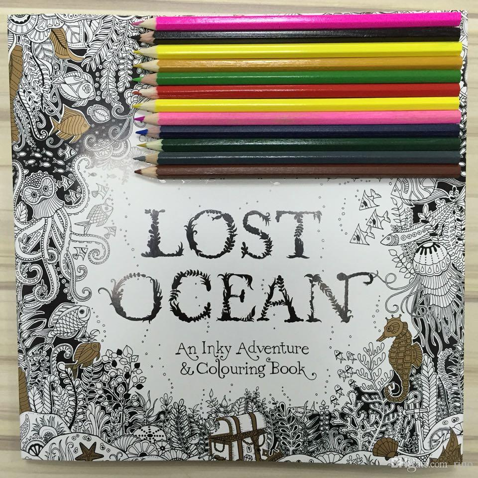 lost ocean english edition coloring books for children adult relieve stress creative therapy doodling drawing books fedex free christmas coloring book