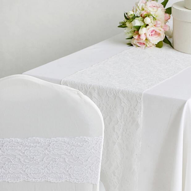 Great 11.8x108 White Lace Wedding Table Runners Fashion Wedding Banquet Table  Cloths Chair Cover Sash Bows Decorative Table Runners Dining Room Table  Runners From ...