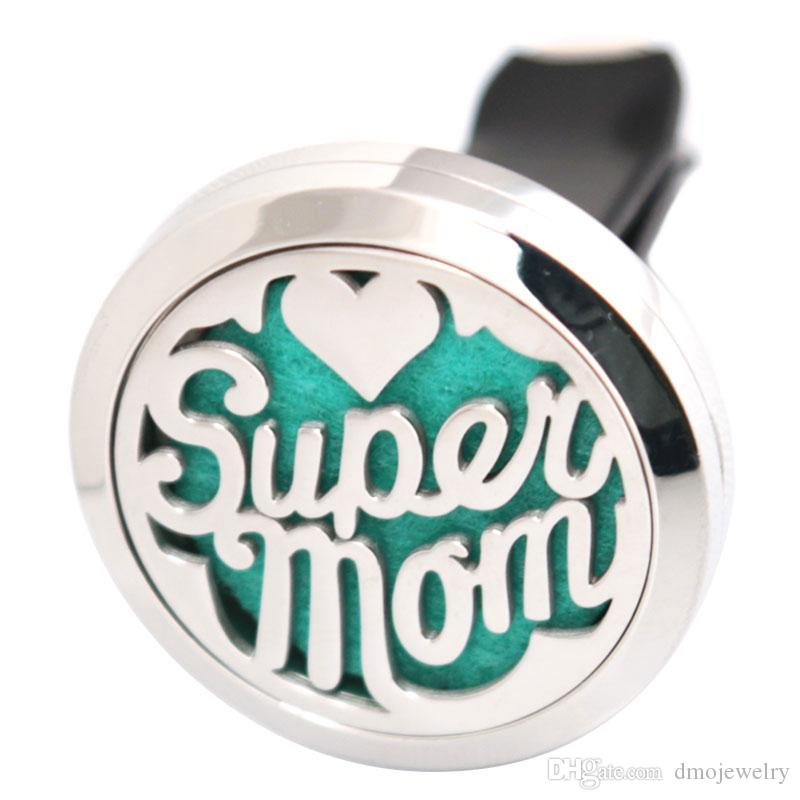 Super Mom Aromatherapy Essential Oil surgical 30mm Stainless Steel Pendant Perfume Diffuser Car Locket Send Oils Pads