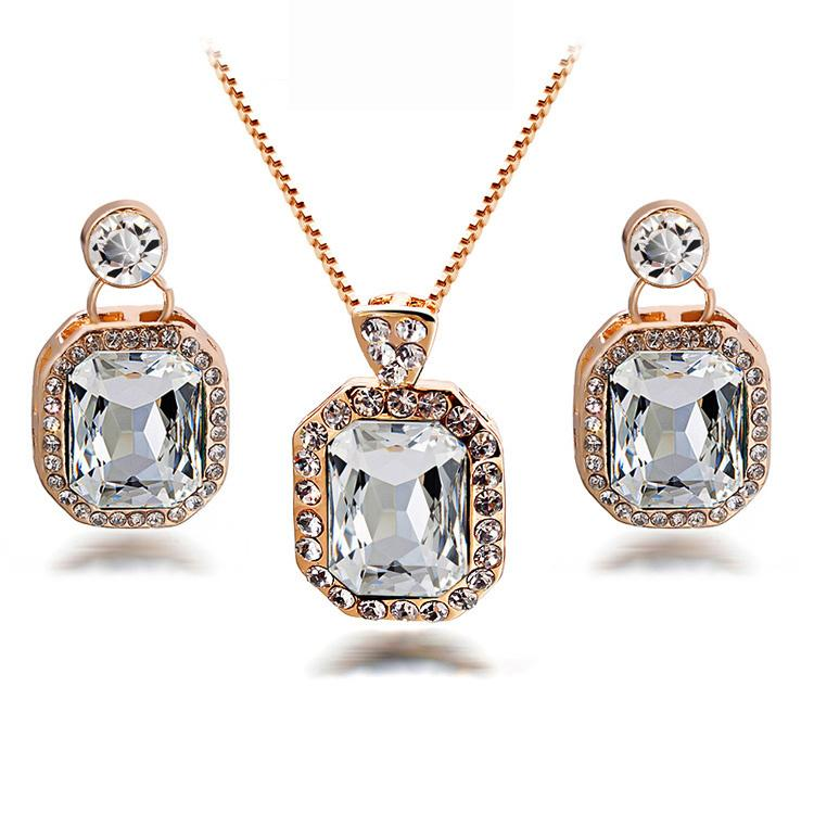 Pendientes únicos y conjuntos de collar de cristal de lujo nupcial conjuntos de collar para la boda joyería de diseñador de la vendimia para mujer 1120