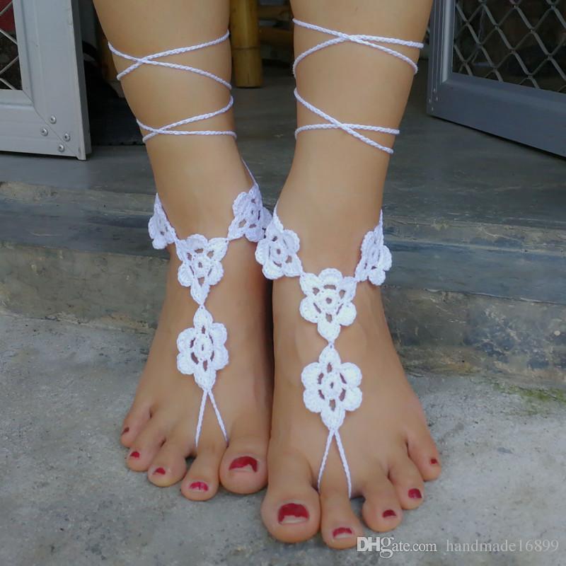 Großhandel Häkeln Sie Weiß Barfuss Sandalen Fuß Schmuck