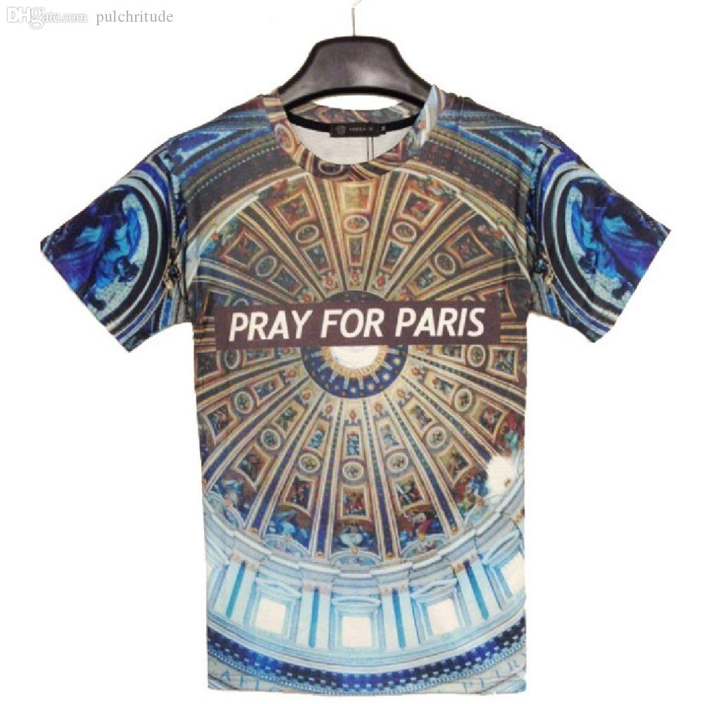 T For Hop 2015 Unisxe Paris Shirts Wholesale Casual Pray Hip Shirt WD2IEH9