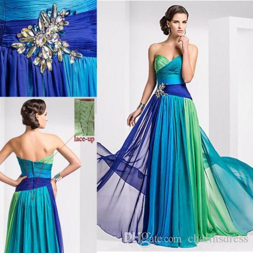 다채로운 쉬폰 저렴 한 긴 이브닝 드레스 멀티 컬러 크리스탈 주름 레이스 최대 연인 2015 댄스 파티 드레스 Vestidos de Fiesta